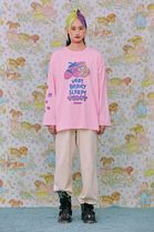 neon moon T-Shirts Crew Neck Street Style Long Sleeves Cotton Oversized 10