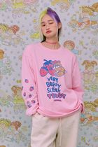 neon moon T-Shirts Crew Neck Street Style Long Sleeves Cotton Oversized 11