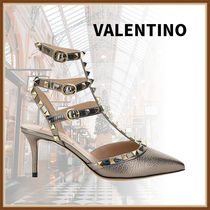 VALENTINO Casual Style Plain Leather Pin Heels Party Style