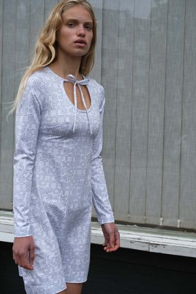 Flower Patterns Casual Style Tight Long Sleeves Logo Dresses