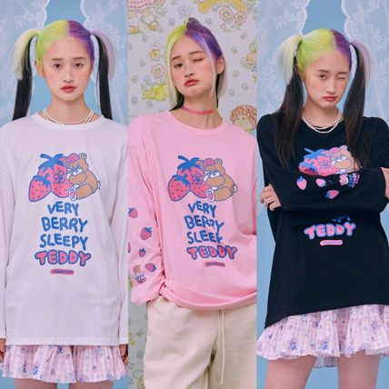 neon moon T-Shirts Street Style Logos on the Sleeves T-Shirts
