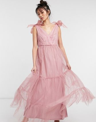 ASOS Asos Design Tulle Bow Tie Tiered Maxi Dress In Rose