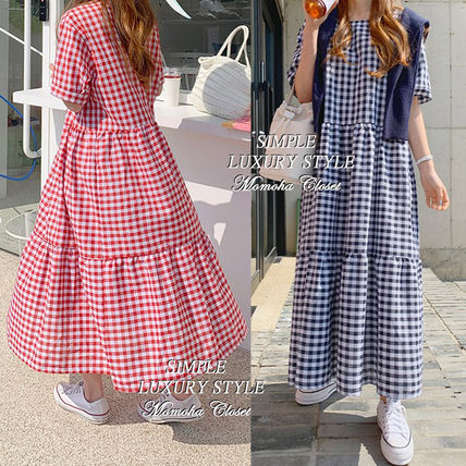 Tired Gingham Maxi Long Dresses
