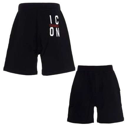 D SQUARED2 Logo Sweat Cotton Street Style Joggers Shorts