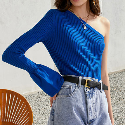 Formal Style  Asymmetry Casual Style Rib V-Neck Long Sleeves