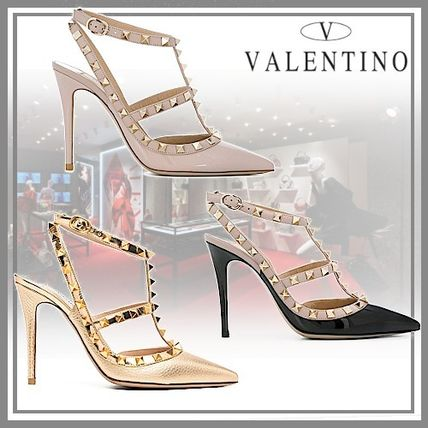 VALENTINO Logo Casual Style Blended Fabrics Plain Leather Pin Heels