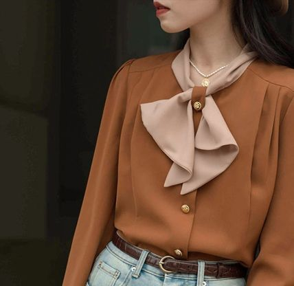 Casual Style Chiffon Bi-color Long Sleeves Office Style