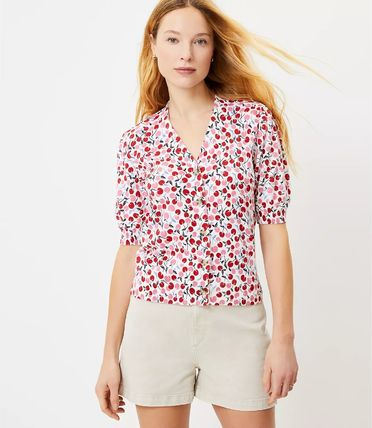 Short Tropical Patterns Cotton Short Sleeves Puff Sleeves