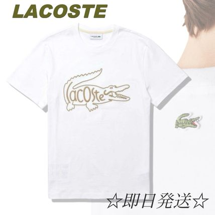 LACOSTE Crew Neck Crew Neck Unisex Cotton Short Sleeves Logo