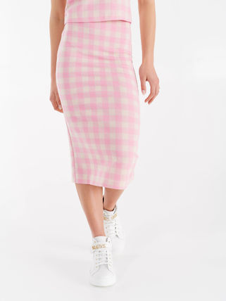 Pencil Skirts Gingham Casual Style Bi-color Medium
