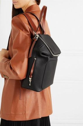 LOEWE Logo Unisex Calfskin Plain Leather Backpacks