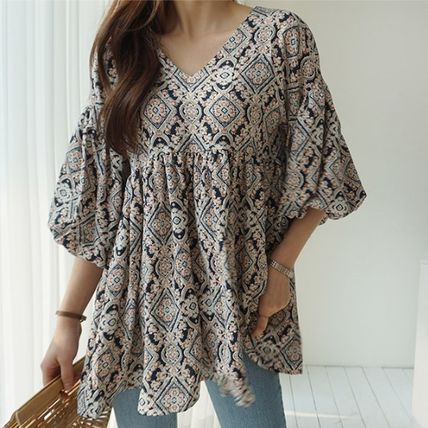V-Neck Medium Puff Sleeves Tunics