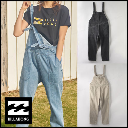 Dungarees Casual Style Street Style Plain Cotton Logo
