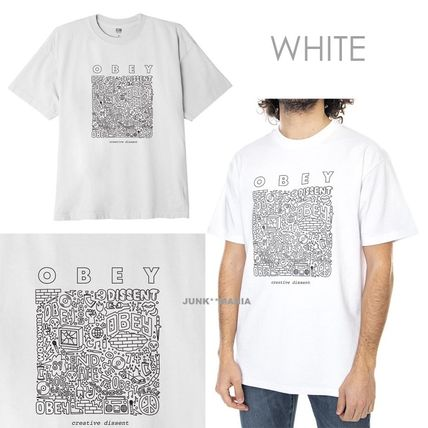 OBEY Crew Neck Crew Neck Pullovers Unisex Street Style Cotton Short Sleeves 2
