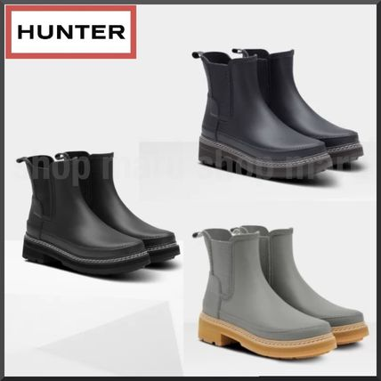HUNTER Casual Style Unisex Plain Boots Boots