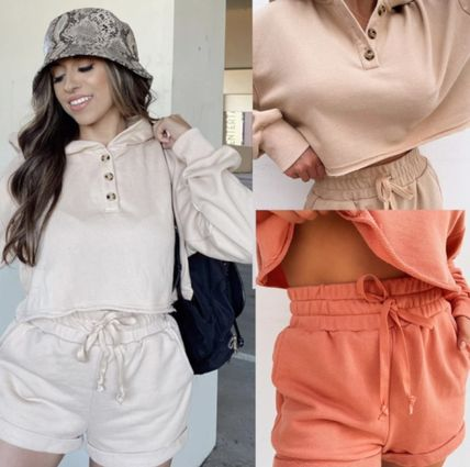 MISS LOLA Dresses Short Casual Style Street Style Long Sleeves Plain Co-ord