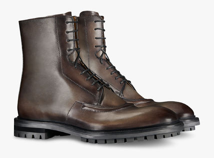 Berluti Plain Toe Plain Leather Engineer Boots