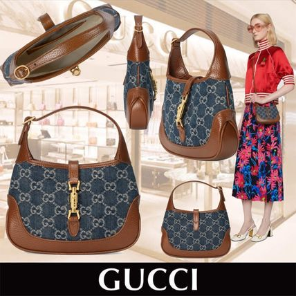 GUCCI Casual Style Denim Blended Fabrics 3WAY Leather Crossbody