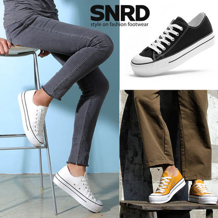 Round Toe Rubber Sole Casual Style Plain Low-Top Sneakers