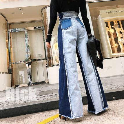 Printed Pants Casual Style Denim Street Style Bi-color Long