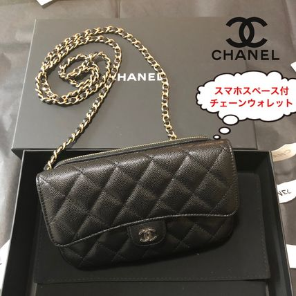CHANEL ICON Unisex Calfskin Lambskin 3WAY Chain Plain Crossbody Logo