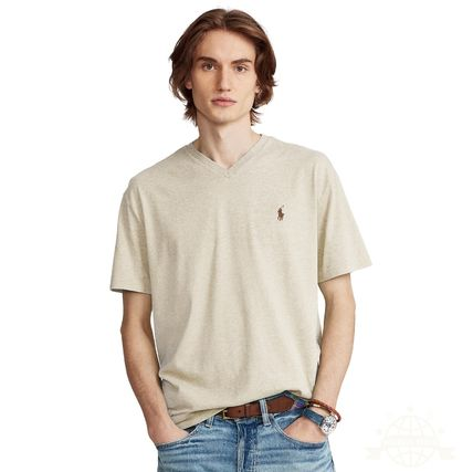 Ralph Lauren Logo Surf Style V-Neck Plain Cotton Short Sleeves