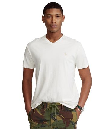 Ralph Lauren V-Neck Plain Cotton Short Sleeves Logo Surf Style