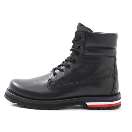 MONCLER Plain Toe Unisex Blended Fabrics Street Style Plain Leather