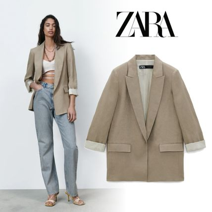 ZARA Street Style Plain Medium Jackets