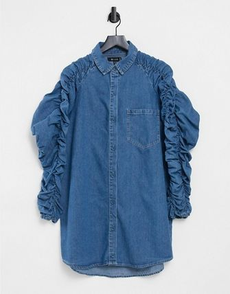ASOS Missguided Denim Shirt Dress With Ruched Sleeve In Blue