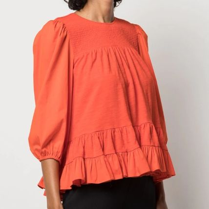Casual Style Peplum Cropped Plain Cotton Puff Sleeves