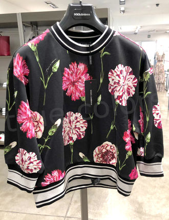 Dolce & Gabbana Crew Neck Stripes Flower Patterns Casual Style Cropped