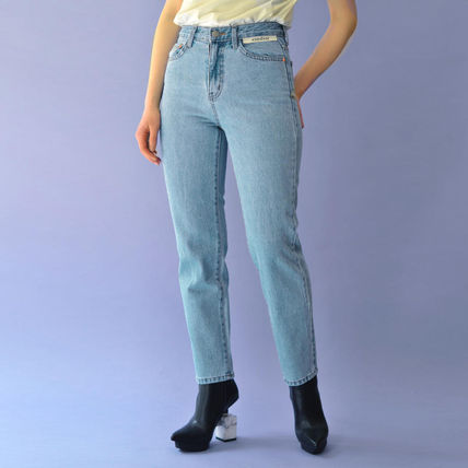 Casual Style Denim Plain Cotton Long Logo Skinny Pants