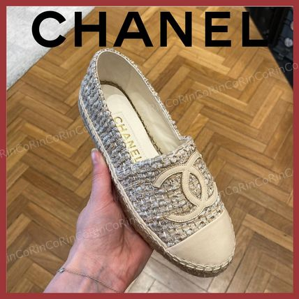 CHANEL Logo Casual Style Street Style Flats