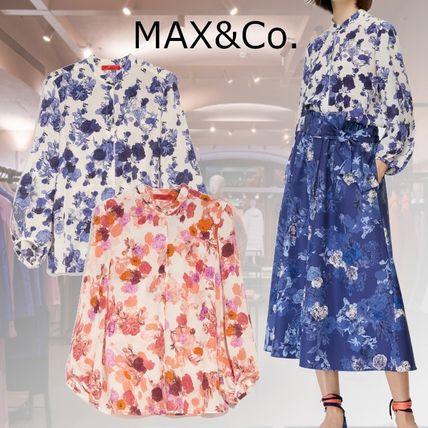 Max&Co. Flower Patterns Casual Style Silk Long Sleeves Medium