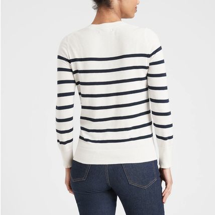 Crew Neck Short Stripes Casual Style Blended Fabrics