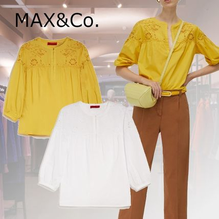 Max&Co. Casual Style Cropped Plain Cotton Shirts & Blouses