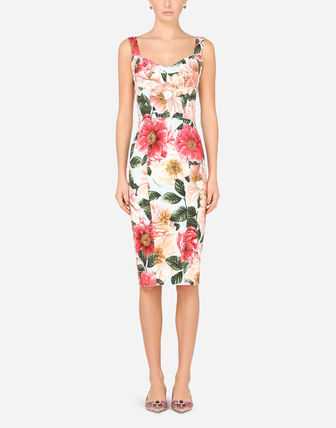 Dolce & Gabbana Flower Patterns Tight Sleeveless Medium Party Style Dresses