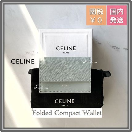 CELINE Tri Fold Folding Wallet Logo Leather Folding Wallets
