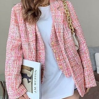 Short Gingham Tweed Street Style Party Style Office Style