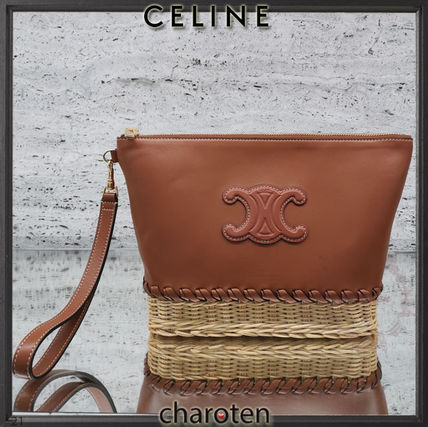 CELINE Triomphe Casual Style Unisex Lambskin Blended Fabrics Bag in Bag 2WAY