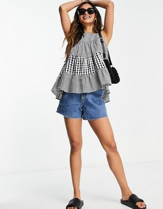 ASOS Gingham Casual Style Sleeveless Cotton Tanks & Camisoles