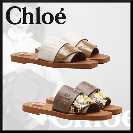 Chloe Open Toe Square Toe Rubber Sole Casual Style Blended Fabrics