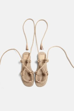 Open Toe Lace-up Casual Style Tassel Plain Sandals