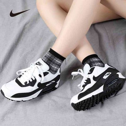Nike AIR MAX 90 Logo Lace-up Casual Style Blended Fabrics Plain Street Style