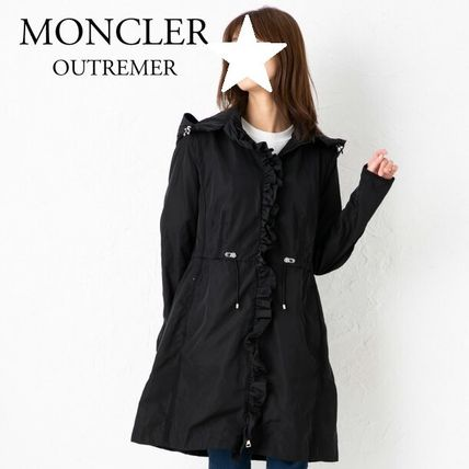 MONCLER OUTREMER Casual Style Nylon Plain Long Office Style Elegant Style