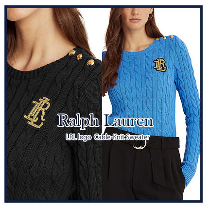Logo Crew Neck Cable Knit Casual Style Long Sleeves Cotton