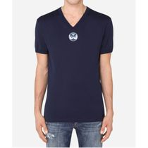 Dolce & Gabbana Cotton V-Neck T-Shirt With Dg Embroidery