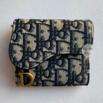 Christian Dior LADY DIOR Leather Folding Wallet Small Wallet Logo Folding Wallets