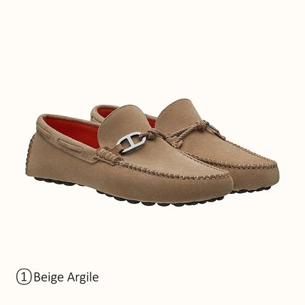HERMES Driving Shoes Moccasin Loafers Suede Plain Leather U Tips